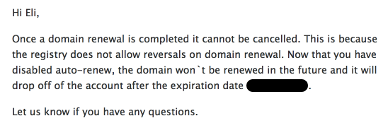 I know that I can't cancel a domain after renewal