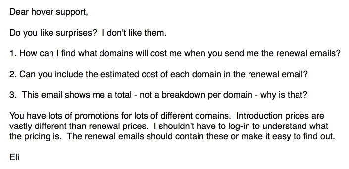 So I write you an email about these renewal emails.
