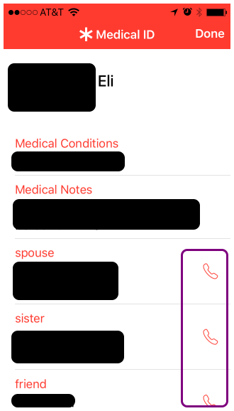 Now you can see the medical ID information that emergency personnel would see