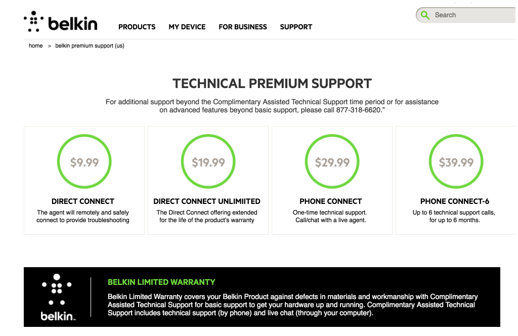 Getting support from Belkin