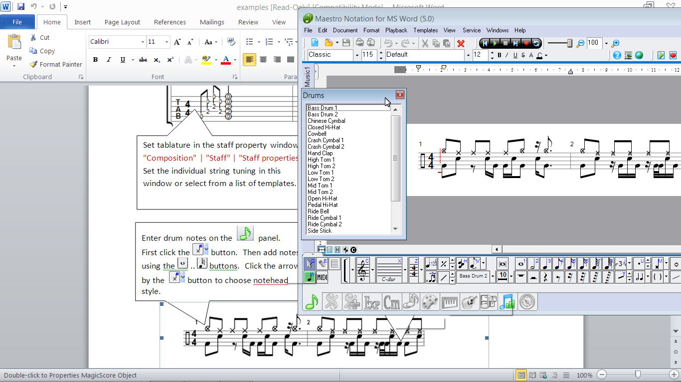 Features Found In The Magicscore Notation For Ms Word