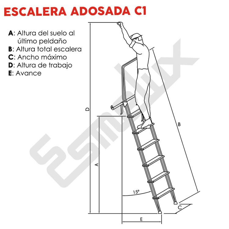 Escalera Adosada C1 con ganchos