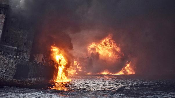 Image result for Iranian Oil tanker burns, sinks in Japanese waters