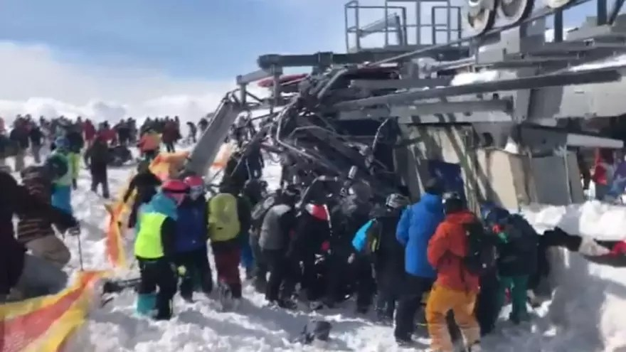 ski chair lift malfunction target toddler table and chairs skiers throw themselves from as it malfunctions at georgia resort