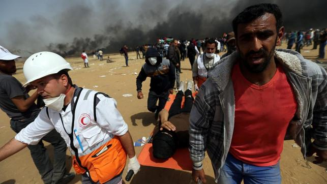 30 Palestinians shot and wounded in latest clashes with Israeli troops. Hundreds have been killed or wounded since the protests started three weeks ago