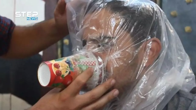 Man in Idlib fearing chemical attack makes gas mask from party cups