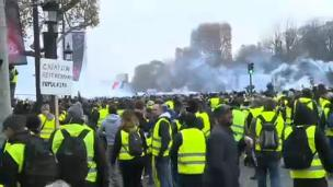 Image result for Police fire teargas at 'Yellow vest' protesters