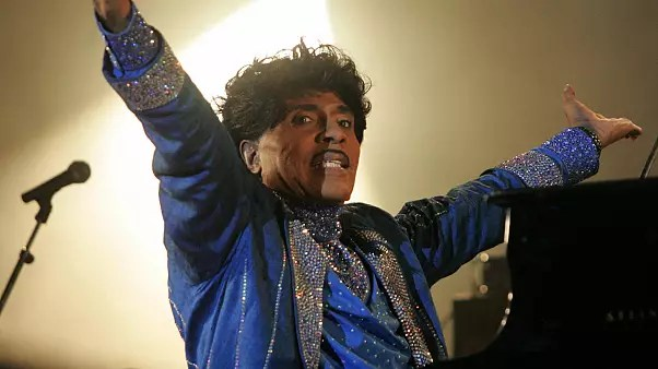 US rock legend Little Richard performs on the stage of the Terre Neuvas festival, 08 July 2006 in Bobital, western France.