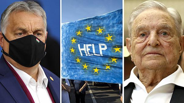 Thousands of people have previously protested against Viktor Orban's (left) measures, which resulted in George Soros' (right) university threatening to leave