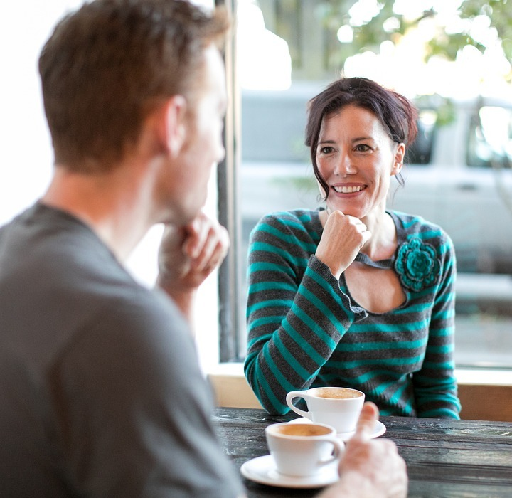 woman, date, coffee