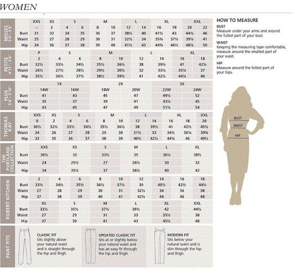 Women39s Pendleton Clothing Size Chart