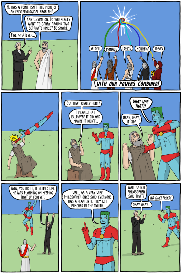 Captain Metaphysics and the Extreme Skeptic (existential comics)