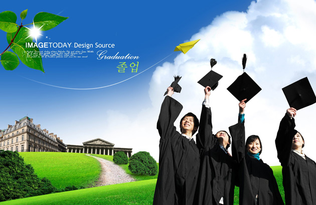 Graduation figures landscape PSD material  Free download