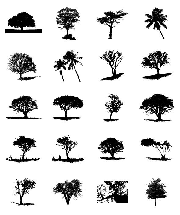 Different Trees Silhouettes Vector 02 For Free Download