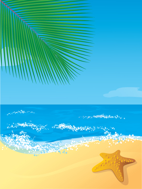 Sunny beach design vector background 06  Free download