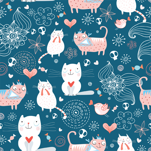 Fall Leaves Fox Wallpaper Funny Cat Pattern Vector 01 Free Download