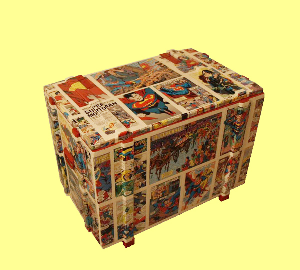 Decoupage contenitori a fumetti nella cameretta dei bambini
