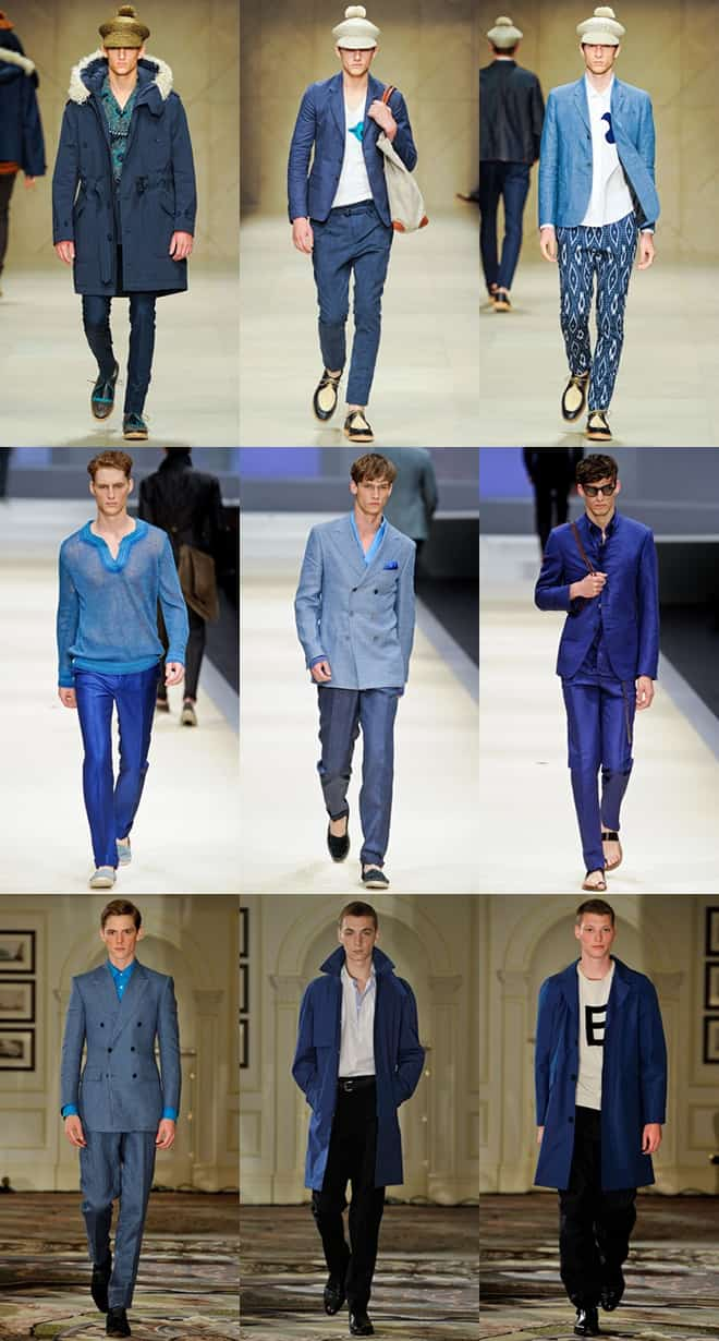 Blue on the mens runways for spring/summer 2012
