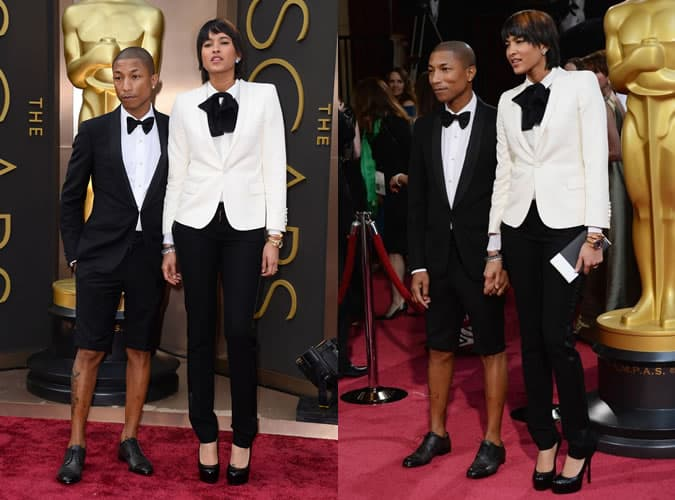 Pharrell Williams In A Short Tuxedo Suit - The Oscars 2014