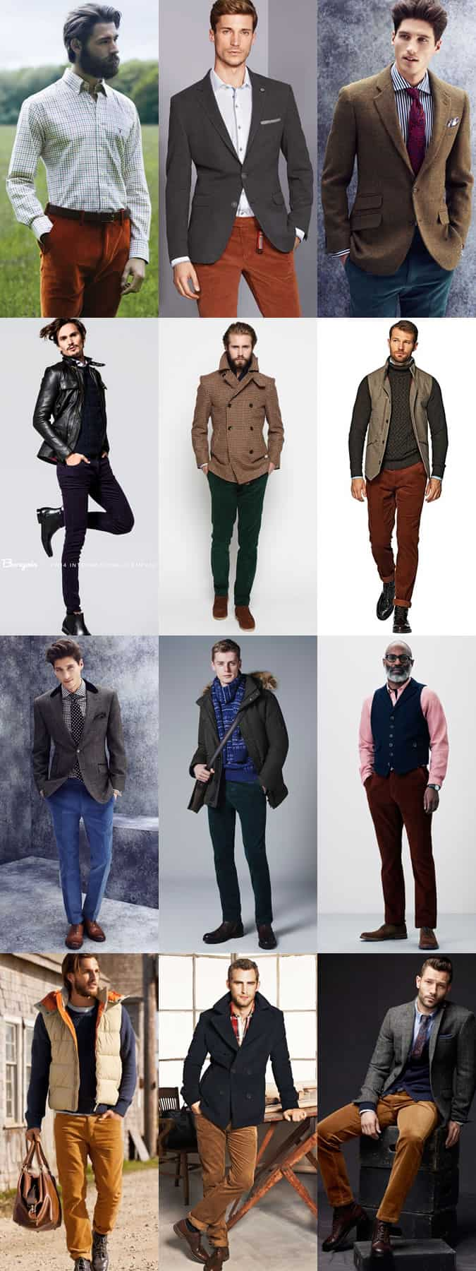 Men's Coloured Corduroy Trousers Outfit Inspiration Lookbook