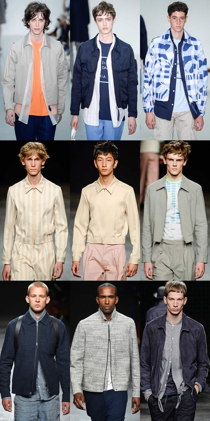 Men's spread collar bomber jackets on LC:M SS16 runways at Lou Dalton, Oliver Spencer, Topman Design and YMC