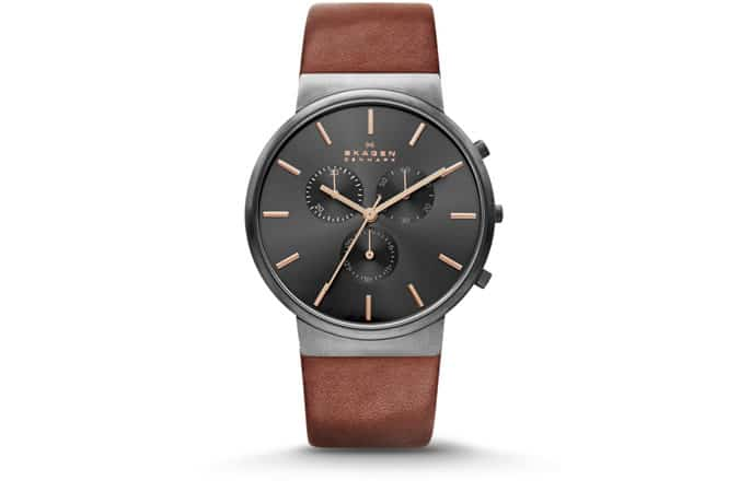 Skagen Ancer Leather Chronograph Watch