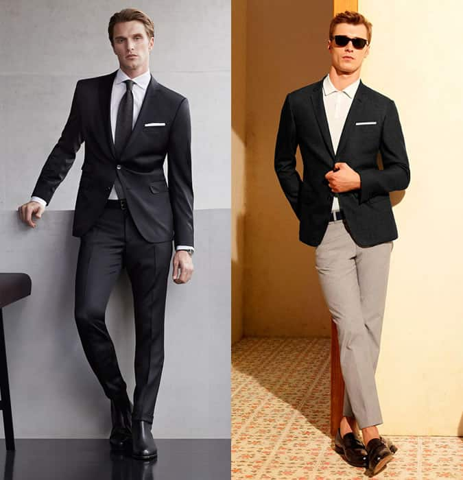 Men's Black Suit and Blazer Separates Outfit Inspiration Lookbook