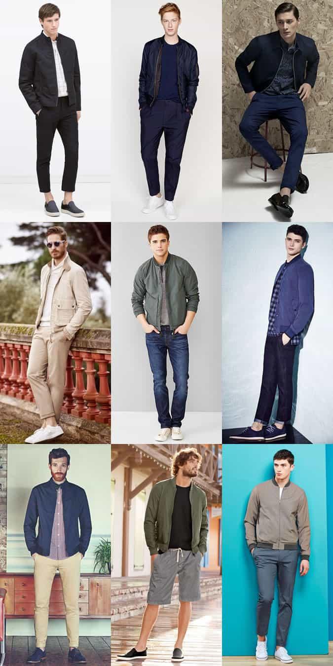 Men's Lightweight Bomber Jackets Outfit Inspiration Lookbook
