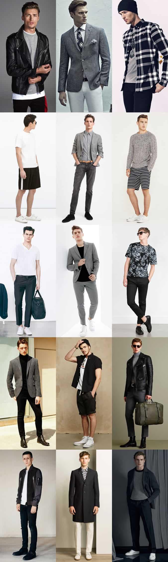 Lookbook d'inspiration de tenue pour hommes en noir, blanc et gris (palettes monochromes / niveaux de gris)