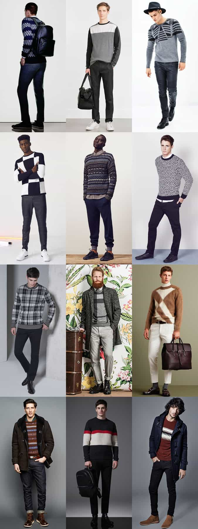 Men's Graphic/Printed Knitwear Outfit Inspiration Lookbook