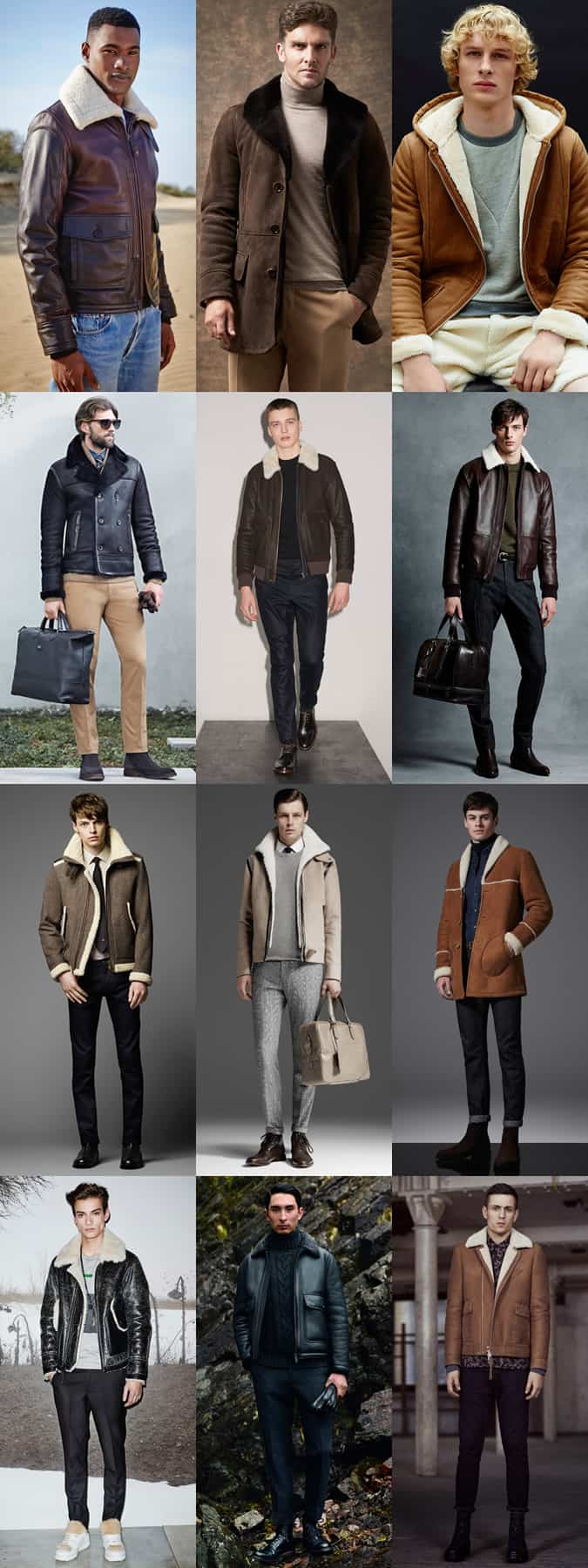 Men's Shearling Outerwear/Jackets Outfit Inspiration Lookbook