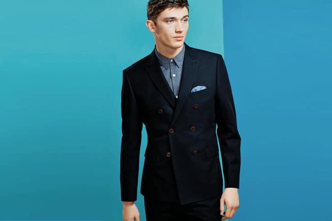 Costume en coton bleu marine: veste