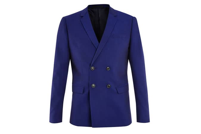Veste de costume skinny à double boutonnage texturée bleu marine