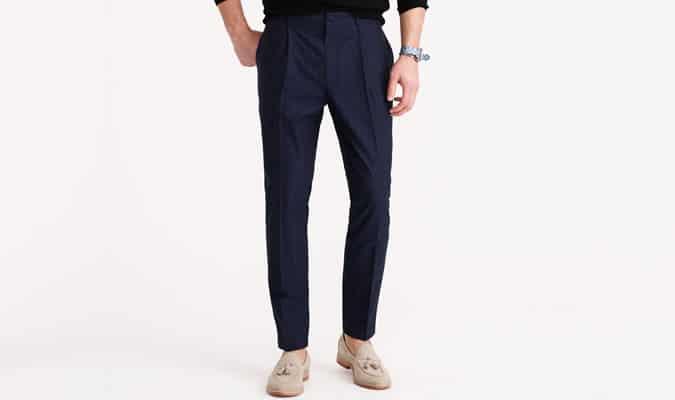 Pantalon J Crew plissé en coton à carreaux