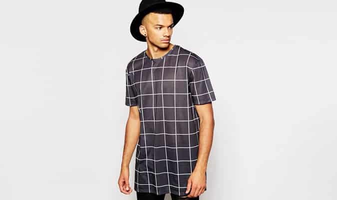 Un autre Influence Longline Windowpane T-shirt à carreaux