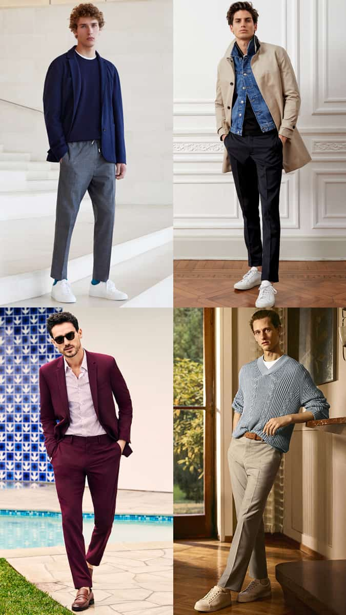 Men's No or Minimal Break Trousers/Jeans/Chinos Outfit Inspiration Lookbook - Dress Yourself Taller