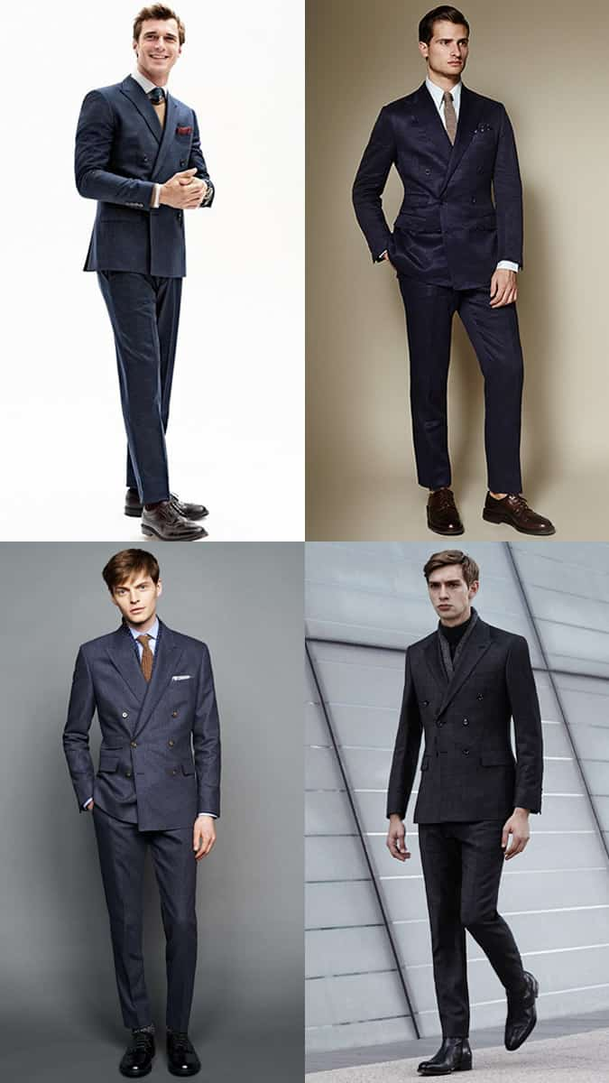 Men's Dark Double-Breasted Suit Outfit Inspiration Lookbook