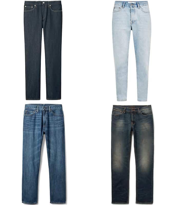 Jeans en denim coupe droite et ample pour hommes