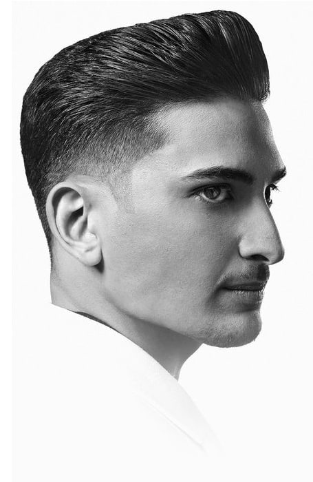 Men's Fade With Blunt Pompadour