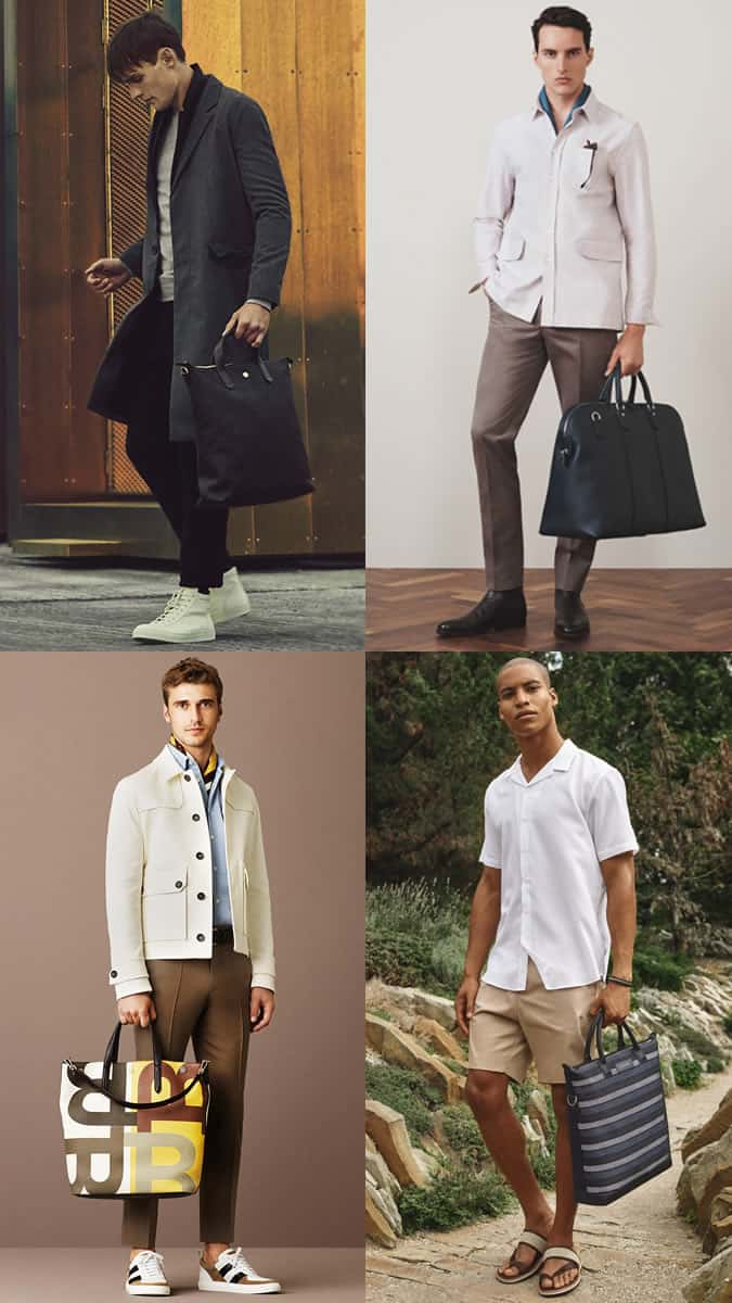 Men's Luxury and Printed Totes Outfit Inspiration Lookbook 2017 Bag Trends