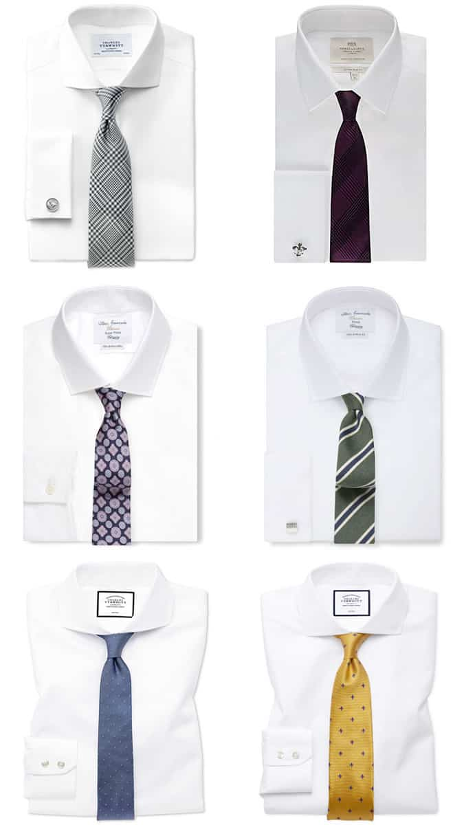 Combinaisons chemise blanche et cravate homme