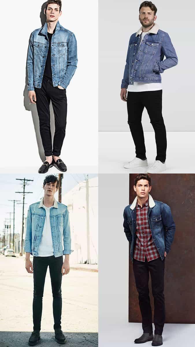 Jeans noirs pour hommes avec combinaisons de vestes en denim délavé clair