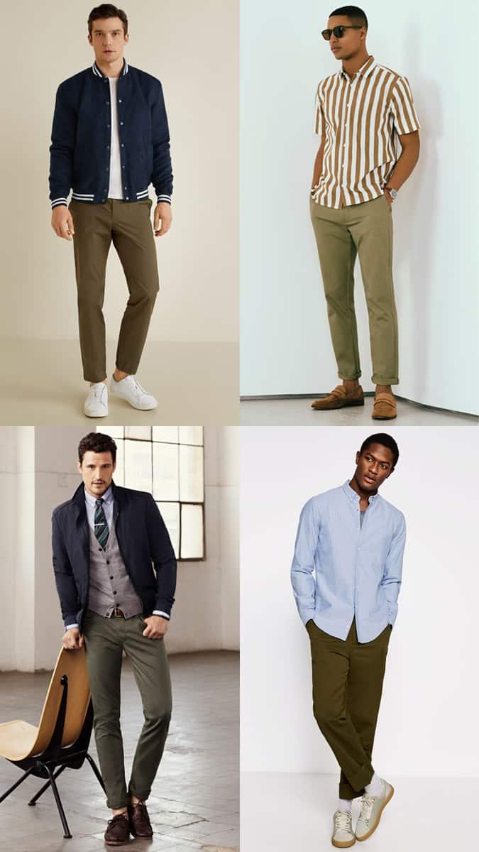 Lookbook d'inspiration tenue pour pantalon chino vert olive pour homme
