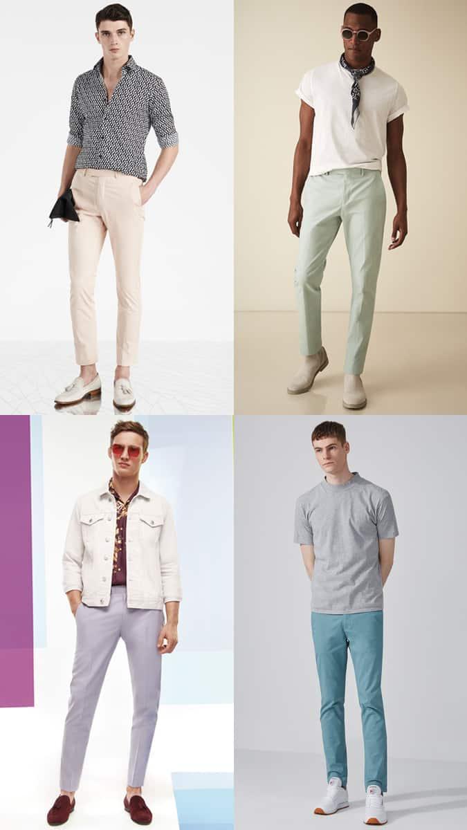 Lookbook d'inspiration tenue de pantalon chino pastel pour homme