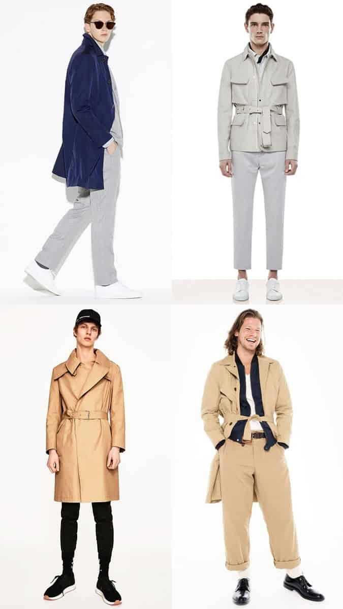 Manteaux et vestes pour hommes ceinturés légers pour le printemps / été