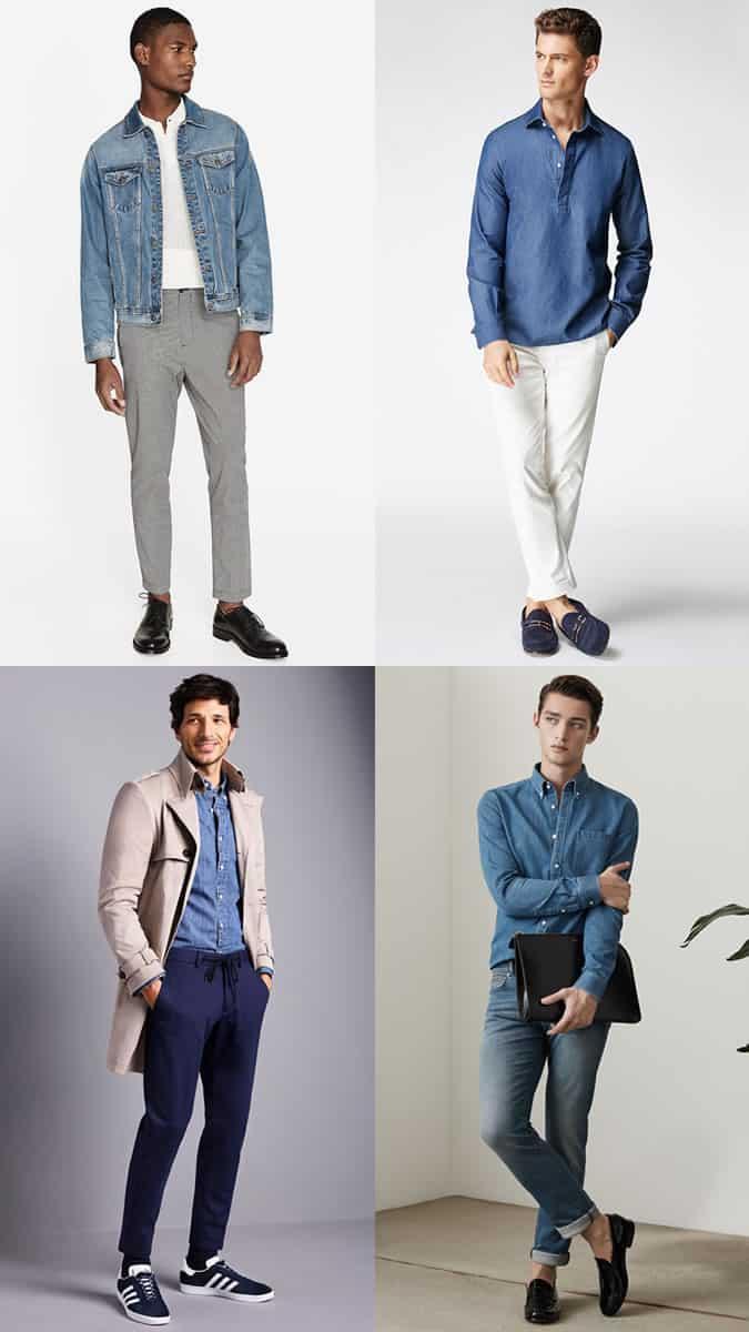 Jeans, chemises et vestes papa en denim bleu moyen pour homme