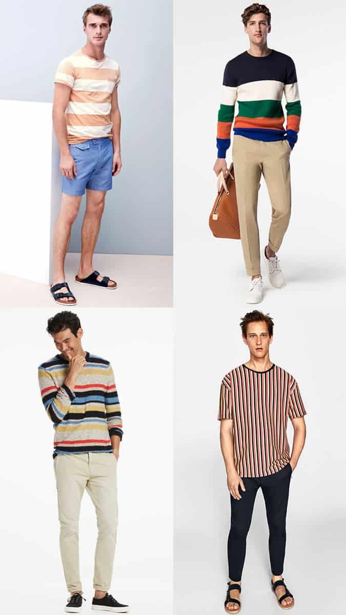 Les t-shirts et hauts à rayures colorées pour hommes seront une tendance majeure de la mode estivale en 2018