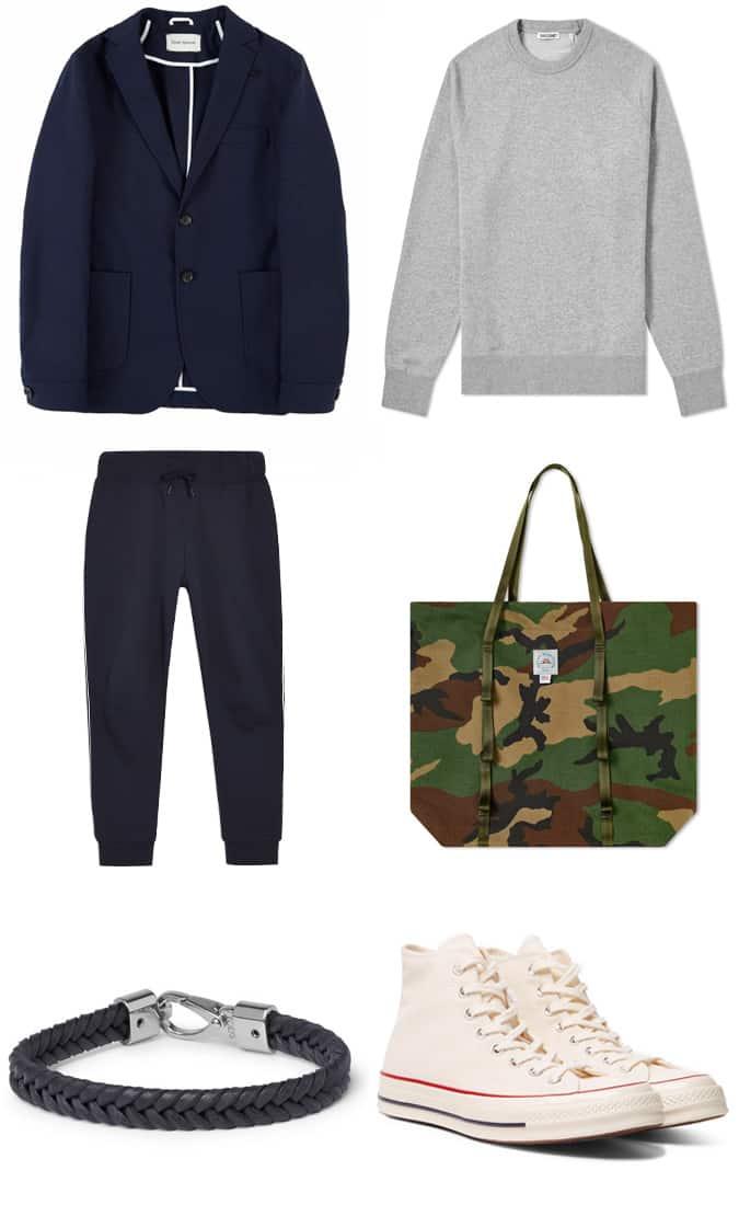 blazer bleu marine avec des joggeurs et des baskets