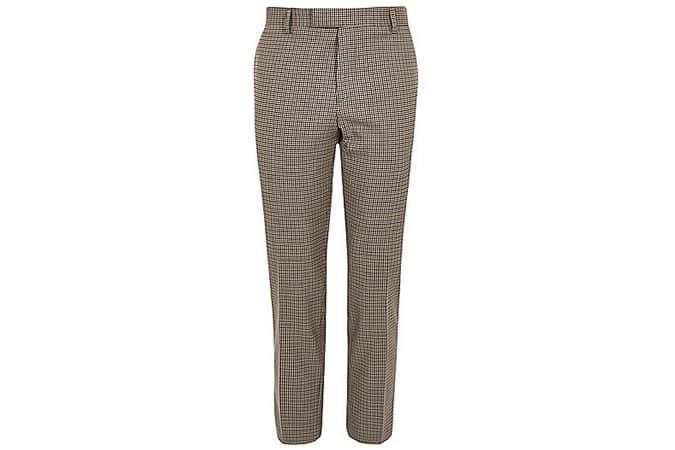 River Island - Pantalon skinny court à carreaux Dogstooth marron