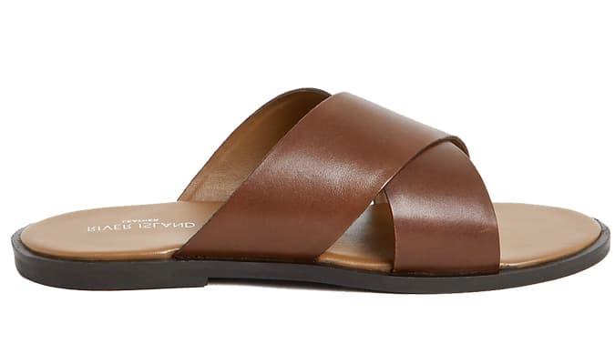 Sandales à brides croisées en cuir marron